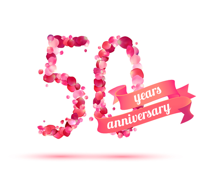 50 years anniversary: fifty (50) years anniversary sign of pink rose petals Illustration
