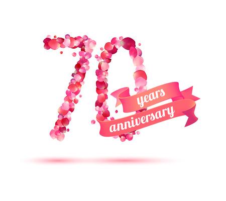 pink rose petals: seventy (70) years anniversary sign of pink rose petals