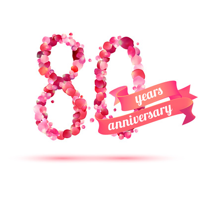 80 years: eighty (80) years anniversary sign of pink rose petals Illustration