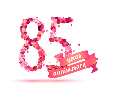 pink rose petals: eighty five (85) years anniversary sign of pink rose petals