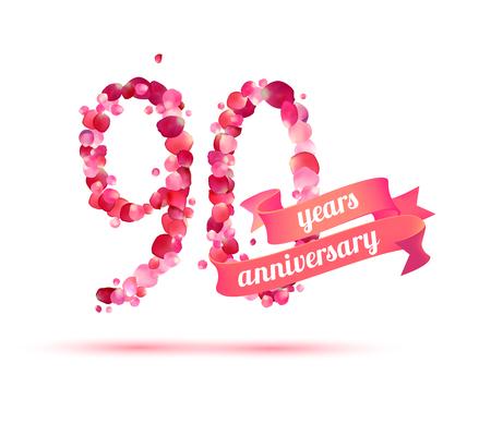 ninety: ninety (90) years anniversary sign of pink rose petals