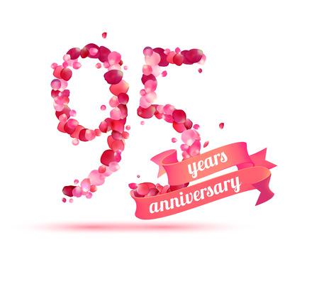 pink rose petals: ninety five (95) years anniversary sign of pink rose petals Illustration