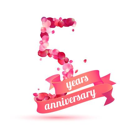 pink rose petals: five (5) years anniversary sign of pink rose petals