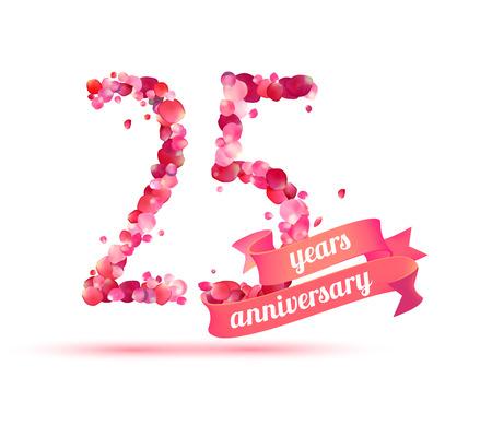 twenty five: twenty five (25) years anniversary sign of pink rose petals