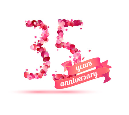 35: thirty five (35) years anniversary sign of pink rose petals