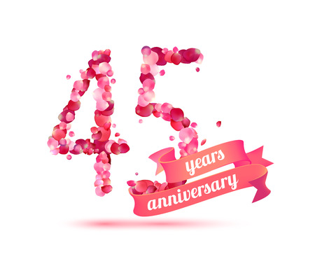 pink rose petals: forty five (45) years anniversary sign of pink rose petals