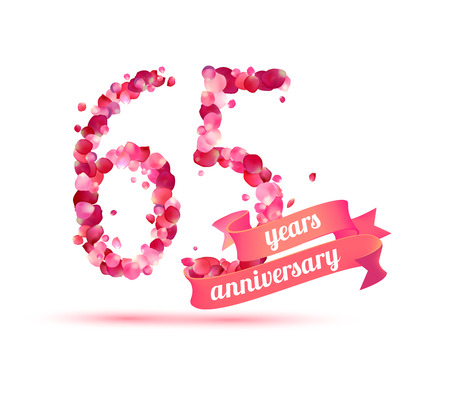 sixty: sixty five (65) years anniversary sign of pink rose petals Illustration