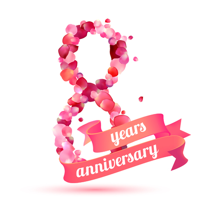 pink rose petals: eight (8) years anniversary sign of pink rose petals