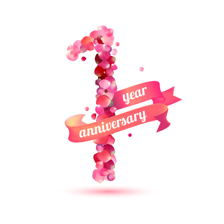 1 year anniversary: One (1) year anniversary sign of pink rose petals