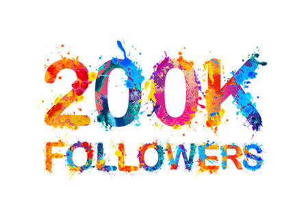 200K (two hundred thousand) followers of splash paint Illustration
