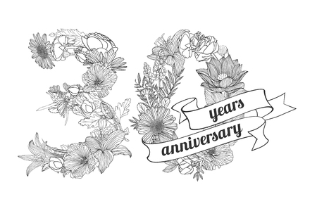 thirty: thirty (30) years anniversary sign of floral linear digits Illustration