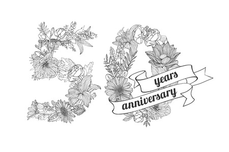 50 years: fifty (50) years anniversary sign of floral linear digits