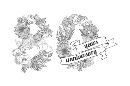 80 years: eighty (80) years anniversary sign of floral linear digits