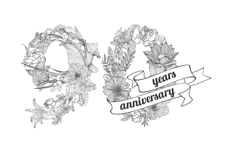 ninety: ninety (90) years anniversary sign of floral linear digits