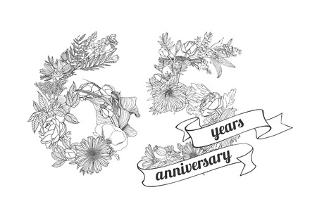 flower age: sixty five (65) years anniversary sign of floral linear digits