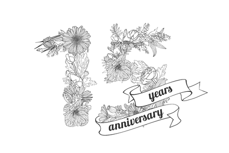 fifteen (15) years anniversary sign of floral linear digits