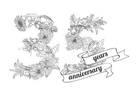 thirty five: thirty five (35) years anniversary sign of floral linear digits Illustration