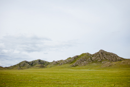lows: Green hills mountains landscape. Altai republic summer nature, Russia