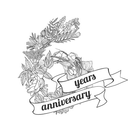 six (6) years anniversary sign of floral linear digits Illustration
