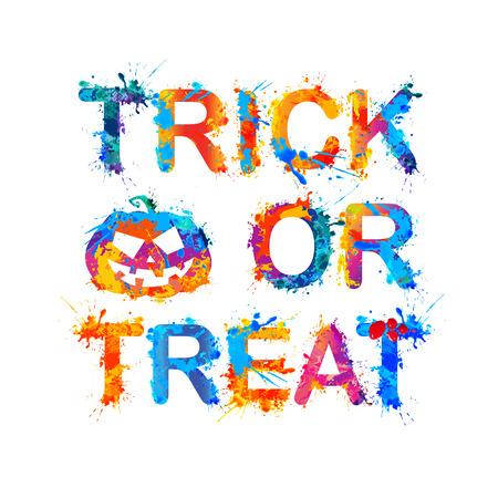 october 31: trick or treat. Halloween Inscription of splash paint