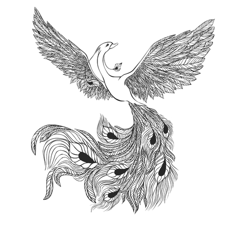 Magic Bird. Illustration for a tattoo. Black and white.