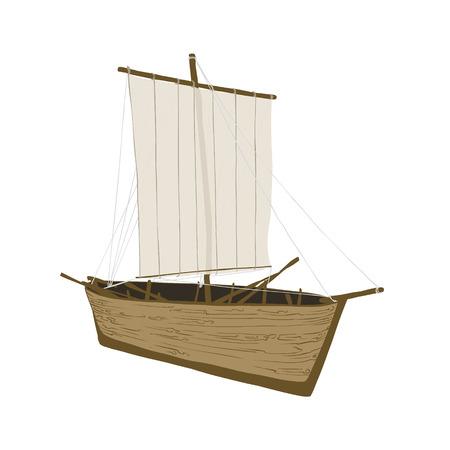 vintage ship: Vintage ship. Vector finnish sailboat on white background.