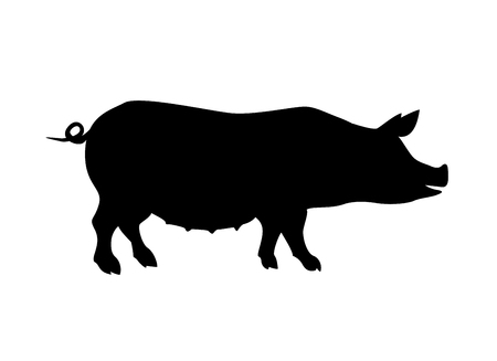 sow: Farm animal. Pig silhouette black on white