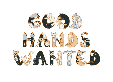 pet store advertising: Good hands wanted. Animal shelter ad about host searching for kittens