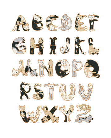 Alphabet letters in the shape of cats 矢量图像