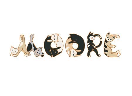 MOORE palabra de letras del gato. ilustración vectorial
