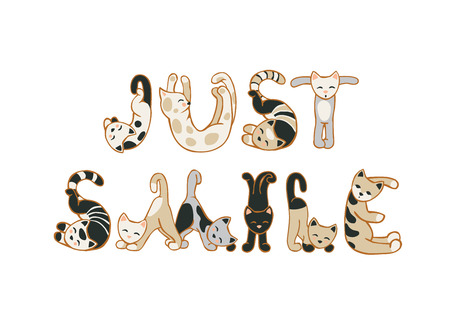 GEWOON LACHEN. Motivational inschrijving van kat letters