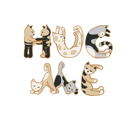 Knuffel me. Vector inschrijving van kat letters Stock Illustratie