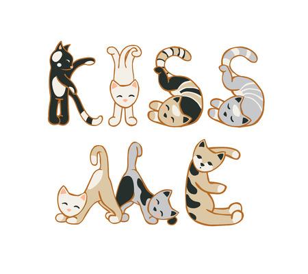 Kus me. VECTOR Inschrijving van kat letters Stock Illustratie