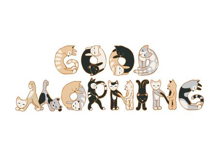 Buenos días. Vector de la inscripción de las letras del gato