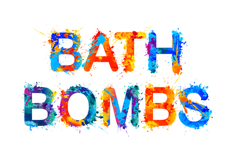 Bath bombs. Splash paint wector watercolor inscription Ilustracja