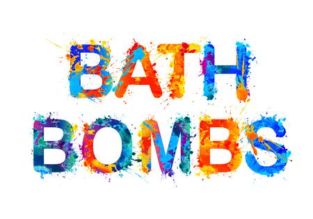 Bath bombs. Splash paint wector watercolor inscription Illustration