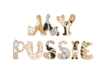 Vector inscription: my pussia. Cat letters on white