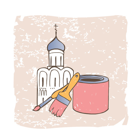 restoration: Restoration of Orthodox Christian Church. Vector illustration