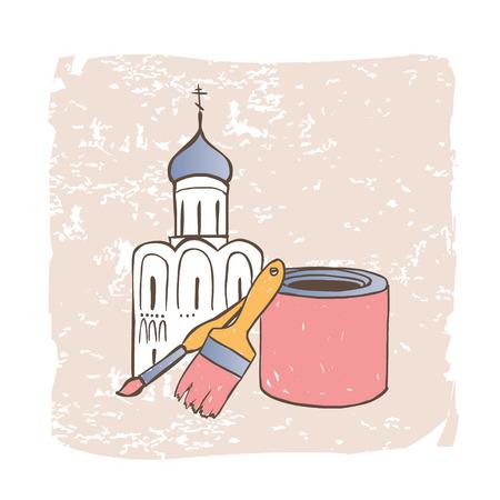 orthodox: Restoration of Orthodox Christian Church. Vector illustration