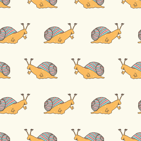 cochlea: Seamless vector childrens pattern - cute snails