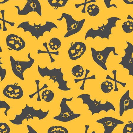 cary: Seamless vector pattern - halloween background (pumpkins, witch hat, skull, bat)