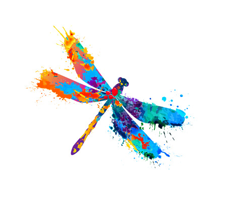Vector dragonfly of rainbow watercolor splash paint