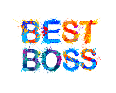 Best boss. Vector watercolor splash paint inscription