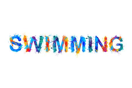 Swimming - vector watercolor splash paint inscription Ilustração Vetorial