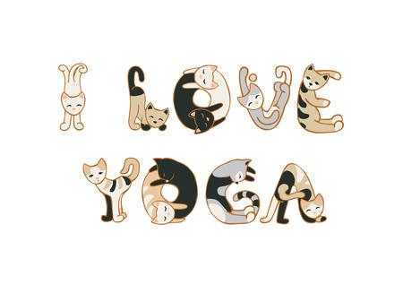 Me encanta el yoga. inscripción de vectores de letras gatos