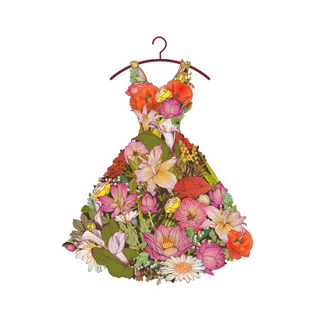 The dress of flowers on a hanger. Vector icon