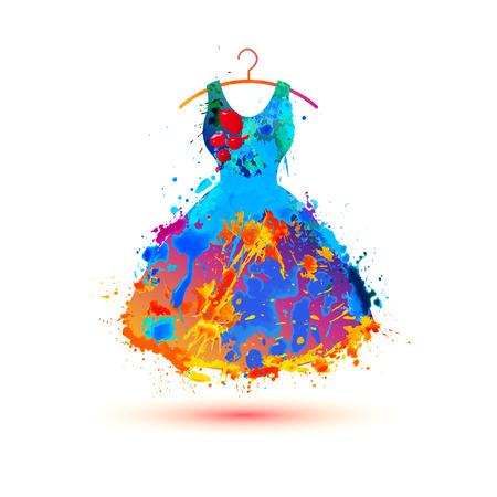 Warercolor splash paint dress. Vector multicolored icon