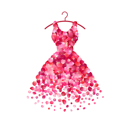 Dress of pink rose petals. Vector icon Illustration