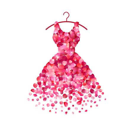 Sukienka różowe płatki róży. Wektor ikona