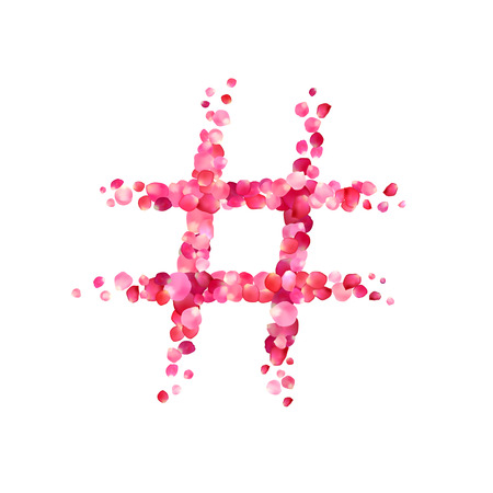 hashtag vector sign of pink rose petals